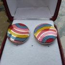 Pink, Blue, Red & Yellow Stripe Circle Enamel Cufflinks Charles Tyrwhitt!