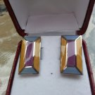 Blue & Lilac Segmented Rectangle Enamel Cufflinks Charles Tyrwhitt!