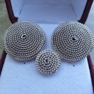 Vintage SWANK Silver Textured Button Cufflinks and Matching Tie Tack!