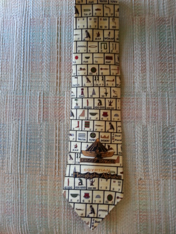 "MUSEUM ARTIFACTS ""EGYPTIAN HIEROGLYPHIC ALPHABET NECK TIE - AUTHENTIC!"