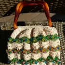 Vintage Tortoise Lucite and Crochet Purse with Multi Colored Beads - UNIQUE & ADORABLE!