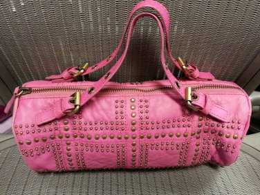 Nicole Miller Collection Mini Studded Fuschia Pink Barrel Bag!