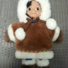 "KIPMIK Eskimo Alaska Beanbag Baby Doll ""Nikkiraq"" with Brown Fur Parka Coat & Boots 9.5""!"