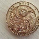 1980 TRW DSSG Aerospace BILLION DOLLAR YEAR Gold Toned Medal Paperweight - DEPICTS FOUR SEASONS!