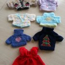 TY Beanie Baby Lot of 6 Sweaters & 1 Red Velvet Dress - ADORABLE!!