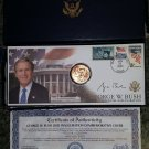 President George W. Bush Commemorative Inauguration Cover & Coin - Lim Ed Collectible-Morgan Mint!