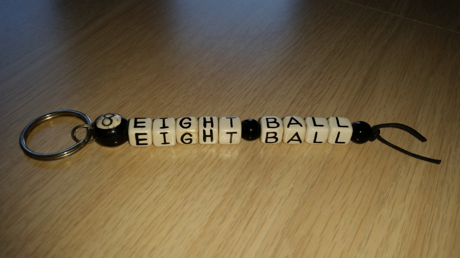 """Pool Fan Alphabet Bead Keychain - """"EIGHT BALL"""" Complete with an """"8 Ball""""!"""