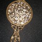 Vintage Goldtone Filigree Rhinestone Encrusted Hand Mirror!