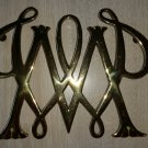 """VINTAGE WILLIAMSBURG """"WILLIAM AND MARY"""" BRASS TRIVET Virginia Metalcrafters VMC!"""