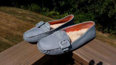 UGG Australia 1643 Women's Light Blue MOCCASIN LOAFERS with BUCKLE USA Size 9!