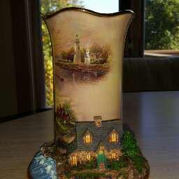 Thomas Kinkade Welcoming Lights Inspirational Lighthouse Candleholder Coll - Light of Serenity!