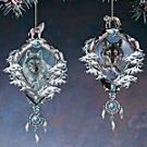 Bradford Exchange Mystic Spirit Wolf Ornaments by Eddie LePage - Lot of 2 - Porcelain & Pewter!