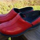 Dansko Sport Red Leather Women's Clogs Sz 7-7.5 US/Eur 38 Black Trim