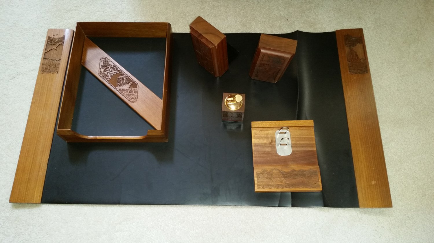Lasercraft Wood Nautical Desk Accessories Set 7 Pc Made In Usa From Black Walnut The 1970 S