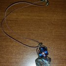 Copper Wire Wrapped necklace with Stone & Glass Center - Boho hippie hipster - IRIDESCENT!