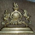 19th Century Brass Royal Coat of Arms -  HONI SOIT QUI MAL Y PENSE!