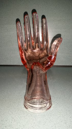 Pink Glass Hand Ring Holder Jewelry Display Depression Glass Reproduction!