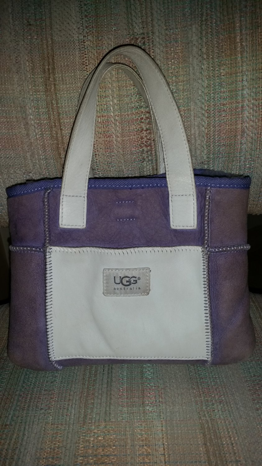 UGG Soft Lilac Purple Suede and White Leather Double Strap Purse!