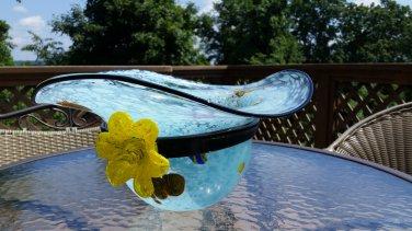 MURANO GLASS HAND-BLOWN LAVORAZIONE MILLEFIORI HAT BOWL/VASE - X-LARGE - 9 lbs!