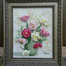 Ann Pine Painting, Vintage 3D Art with Lacquer Egg Shell and Oil, Mixed-Media Collage, Floral