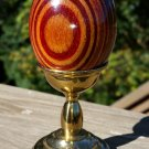 Vintage Van Cort Kaleidoscope Nicholas Egg Striped Wood with Brass Stand - Signed!