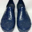 Dansko Professional Higher Heel Patent Navy Floral Print Women's Clogs - Size 39 - LIKE NEW!