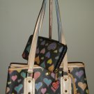 "DOONEY & BOURKE ""HEARTS"" Pattern Leather & Coated Canvas Shoulder Bag with Matching Wallet!"