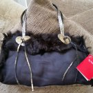 CLAUDIA FIRENZE Genuine Fur-Lined Suede Hand Bag Purse Tote - NEW WITH TAG!