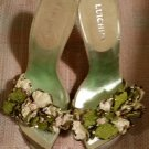 Luichiny sandals - Green flowers with ruffles & beads and a unique silver metal accent - NEVER WORN!