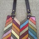 Lucky Brand Patchwork Chevron Multi-Color Leather Hippie Chic Tote!