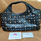 Kathy Van Zeeland Teal Rhinestone & Silver Studded Purse Handbag - Bling Bling!