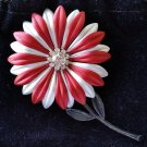 Vintage Burgandy & Silver Flower Pin Brooch - RHINESTONE CENTER!