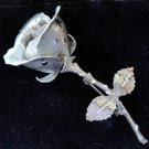 Vintage Silver Rose Flower Pin Brooch!
