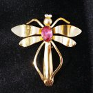 Vintage Coro Dragonfly Pin Brooch with Pink Rhinestone Center!