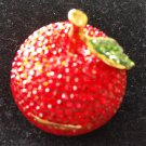 Red Delicious Apple Crystal Embellished Bejeweled Hinged Gift,Ring,Treasure,Trinket Box or Pendant!