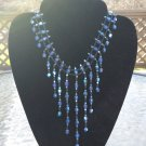 Beautiful Blue Cascading Crystal Bib Necklace!
