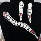 Vintage Rhinestone Snake Brooch Pin & Matching Earring Set - Dazzling!