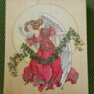 Angel with Garland Wood Mounted Rubber Stamp #90041 by Stamps Happen - MADE IN USA - NEW!