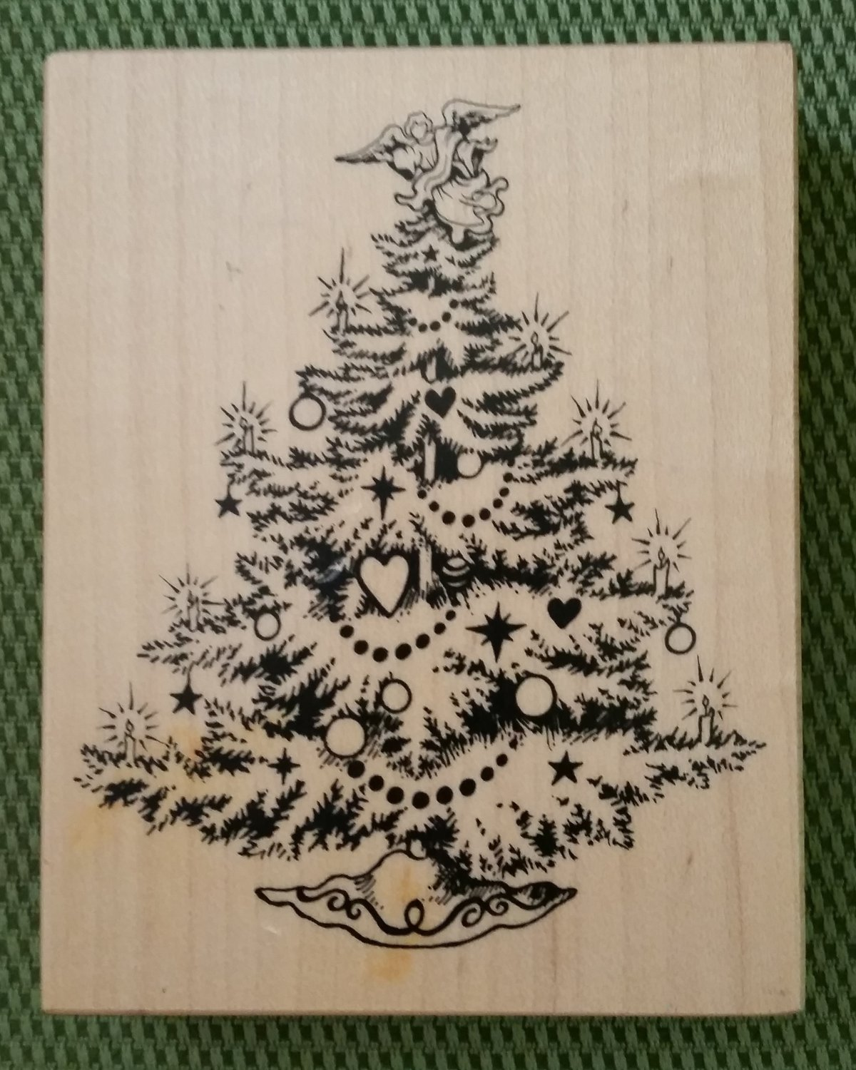Christmas Tree Wood Mounted Rubber Stamp #K-495 by PSX from 1992 - MADE IN USA - RETIRED - NEW!