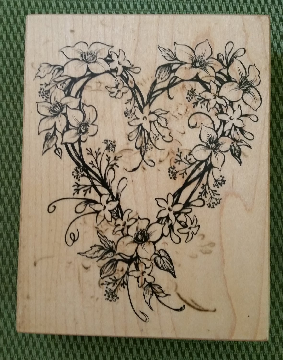 Clematis & Jasmine Flower Heart Rubber Stamp #K-2221 by PSX from 1997 - MADE IN USA - RETIRED - NEW!