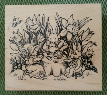 Bunny Rabbit Tea Party in Wonderland Rubber Stamp #K-1943 by PSX from 1996-MADE IN USA-RETIRED-NEW!