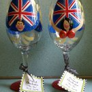 Original Ta-Ta Handpainted Wine Glasses by Jody - His & Hers - Set of 2 - BRITISH THEME!