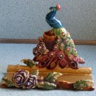Peacock Business Card Holding Statue Jeweled Peacock Desk Desktop Card Holder Stand by Bombay Co.!