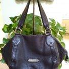 COLE HAAN Cocoa Brown Pebbled Leather Handbag Purse with UNIQUE CONVENIENT Slip-Top Pockets - RARE!