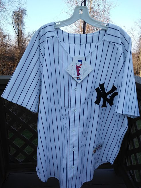 "MEN'S MAJESTIC WHITE/NAVY NEW YORK YANKEES ""13"" COOL BASE JERSEY - SIZE 54!"
