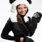Elysiumland Animal Panda Plush Soft Warm Cap Hat Earmuffs Mittens Scarf & Pocket - Black & White!