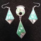 ALPACA MEXICO BOHO DANGLE EARRINGS & PIN SET - ABALONE, MOP & GREEN ENAMEL!