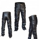 """HOT LEATHERS"" HEAVY WEIGHT BLACK LEATHER MOTORCYCLE RIDING PANTS with SIDE LACING - SIZE 34!"