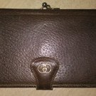 VINTAGE GUCCI BROWN LEATHER FAN FOLD MULTI COMPARTMENT LARGE WALLET - AUTHENTIC!