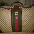 VINTAGE GUCCI LARGE SUITCASE - SIGNATURE GG CANVAS & BROWN LEATHER - GUARANTEED AUTHENTIC!